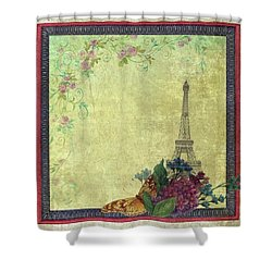 Shower Curtain featuring the painting Eiffel Tower Faded Floral With Swirls by Judith Cheng