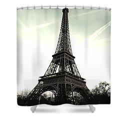 Eiffel Tower, Greyscale Shower Curtain