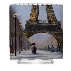 Eiffel Tower In The Snow Shower Curtain