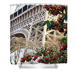 Shower Curtain featuring the photograph Eiffel Tower In Winter by Katie Wing Vigil