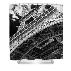Eiffel Tower Infrared Abstract Shower Curtain