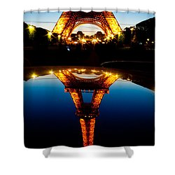 Eiffel Tower Reflection Shower Curtain