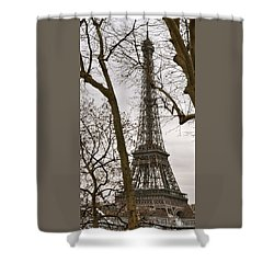 Eiffel Tower Through Branches Shower Curtain