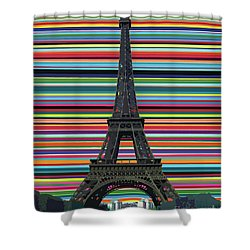 Shower Curtain featuring the painting Eiffel Tower With Lines by Carla Bank