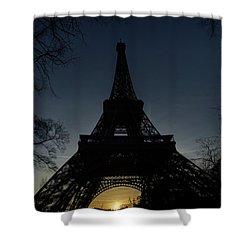 Eiffeltower At Sundown Shower Curtain by Erik Tanghe