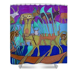 Shower Curtain featuring the painting Eight Holy Cows by Denise Weaver Ross