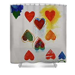 Shower Curtain featuring the painting Eight Of Hearts 9-52  2nd Series  by Cliff Spohn