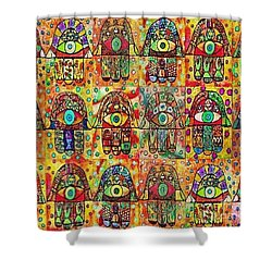 -eighteen Vintage Chai Hamsas Shower Curtain by Sandra Silberzweig