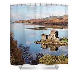 Eilean Donan Castle Panorama In Autumn Shower Curtain