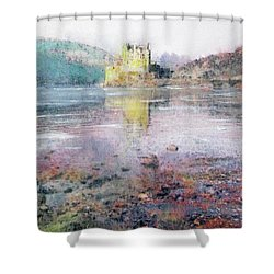Shower Curtain featuring the painting Eilean Donan Castle  by Richard James Digance