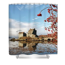 Shower Curtain featuring the photograph Eilean Donan - Loch Duich Reflection - Skye by Grant Glendinning