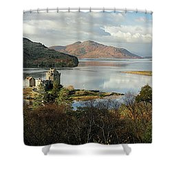 Shower Curtain featuring the photograph Eilean Donan Panorama - Autumn by Grant Glendinning