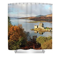 Eilean Donan Reflection In Autumn Shower Curtain