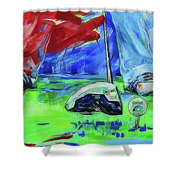 Einen Ball Vom Abschlag Spielen   Ready To Drive Off The Tee Shower Curtain by Koro Arandia