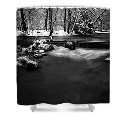 Eisbach In The Winter Shower Curtain by Hannes Cmarits