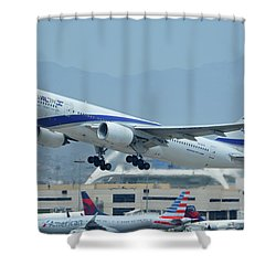 Shower Curtain featuring the photograph El Al Boeing 777-258er 4x-ece Los Angeles International Airport May 3 2016 by Brian Lockett