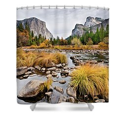 El Capitan And The Merced River In The Fall Shower Curtain