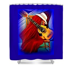 Shower Curtain featuring the painting El Cuatro De Papi by Yolanda Rodriguez