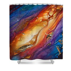 El Flautista Shower Curtain by Angel Ortiz
