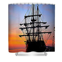 El Galeon At Sunrise Shower Curtain