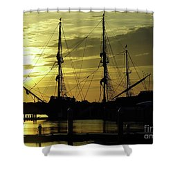 El Galeon Sunrise Shower Curtain by D Hackett
