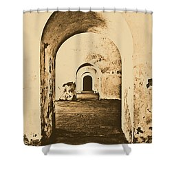 El Morro Fort Barracks Arched Doorways Vertical San Juan Puerto Rico Prints Rustic Shower Curtain by Shawn O'Brien