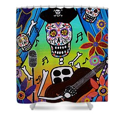 El Musikero Shower Curtain by Pristine Cartera Turkus
