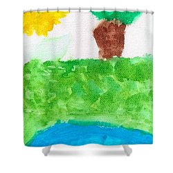 Shower Curtain featuring the painting El Paisaje by Artists With Autism Inc