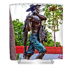 Shower Curtain featuring the photograph El Pescador by Jim Walls PhotoArtist