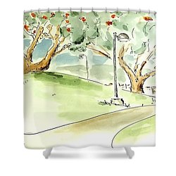 Shower Curtain featuring the painting El Toro Park by Maria Langgle