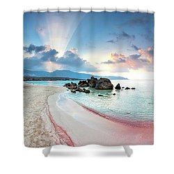 Elafonissi Beach Shower Curtain by Evgeni Dinev