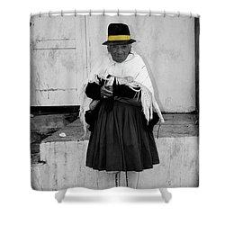 Elderly Beggar In Biblian Shower Curtain by Al Bourassa