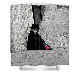 Elderly Beggar In Chordeleg Shower Curtain by Al Bourassa