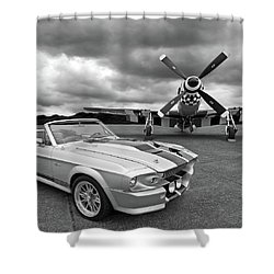 Eleanor Mustang With P51 Black And White Shower Curtain