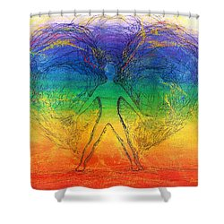 Shower Curtain featuring the mixed media Electric Angel by Denise Fulmer