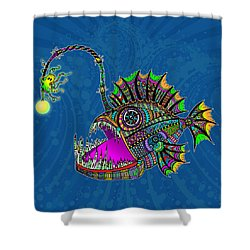 Electric Angler Fish Shower Curtain by Tammy Wetzel