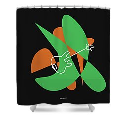 Electric Bass In Green Shower Curtain