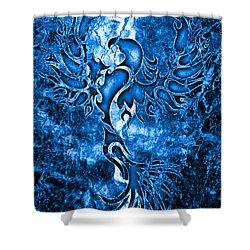 Electric Blue Phoenix Shower Curtain by Robert Ball