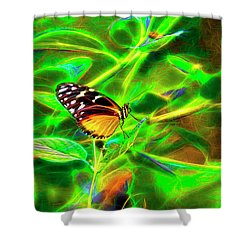 Electric Butterfly Shower Curtain by James Steele