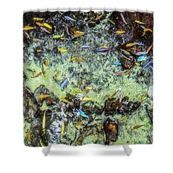 Electric Fish In The Pond Shower Curtain