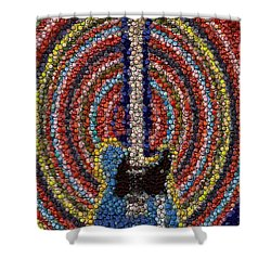 Shower Curtain featuring the mixed media Electric Guitar Bottle Cap Mosaic by Paul Van Scott