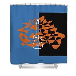 Electric Guitar In Blue Shower Curtain by David Bridburg