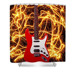 Electric Guitar With Sparks Shower Curtain by Garry Gay