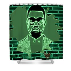 Electric Kanye West Graphic Shower Curtain by Dan Sproul
