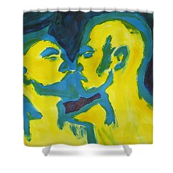 Shower Curtain featuring the painting Electric Kiss by Shungaboy X