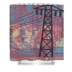 Shower Curtain featuring the digital art Electric Lion Barrel by Nop Briex