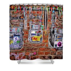 Shower Curtain featuring the photograph Electric Meters by Spencer McDonald