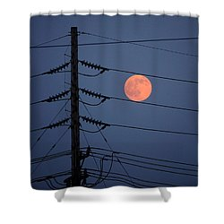 Electric Moon Shower Curtain by Richard Reeve