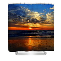 Electric Golden Ocean Sunrise Shower Curtain by Dianne Cowen