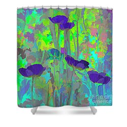 Electric Poppies Shower Curtain